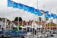 The Cowes Yacht Haven bedecked with Sevenstar flags pre-event.
