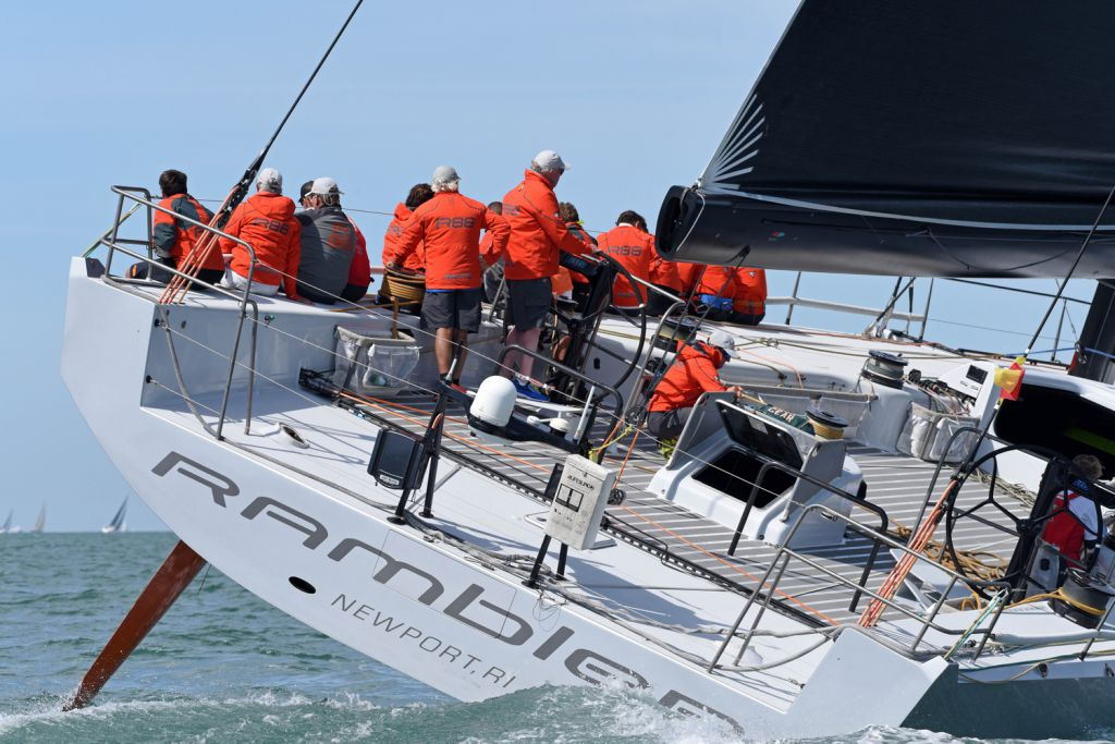 George David's American Canting Keel Maxi, Rambler 88 has won the 2017 Cowes Dinard St Malo Race. (RORC/Rick Tomlinson)