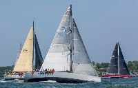 Brigand, Siren and Lady B in the second start of the Transatlantic Race 2015. (credit Daniel Forster)